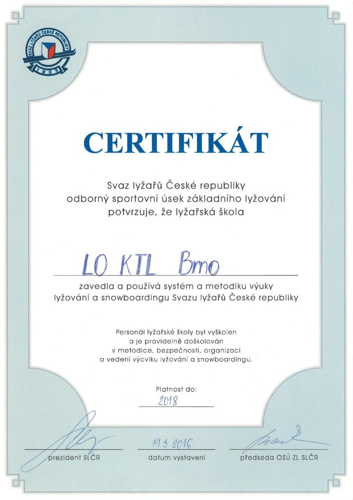 Certifikát našeho oddílu